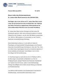 Neuer Leiter des Schmerzzentrums - Uniklinik Köln