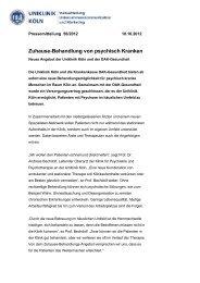 Zuhause-Behandlung von psychisch Kranken - Uniklinik Köln