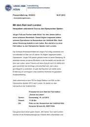 Pressemitteilung Uniklinik Köln Mit dem Rad nach London, 16.07 ...