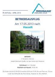 Am 17.05.2013 nach Hasselt BetrieBsausflug - Uniklinik Köln
