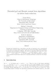 Extended gcd and Hermite normal form algorithms via ... - DIMACS