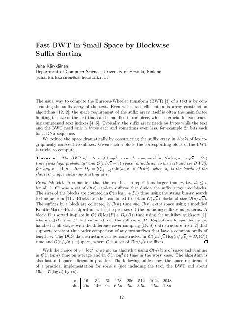 Fast BWT in Small Space by Blockwise Suffix Sorting - Dimacs