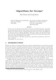 Algorithms for Groups - Dimacs