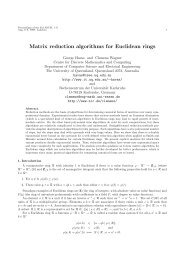 Matrix reduction algorithms for Euclidean rings - DIMACS