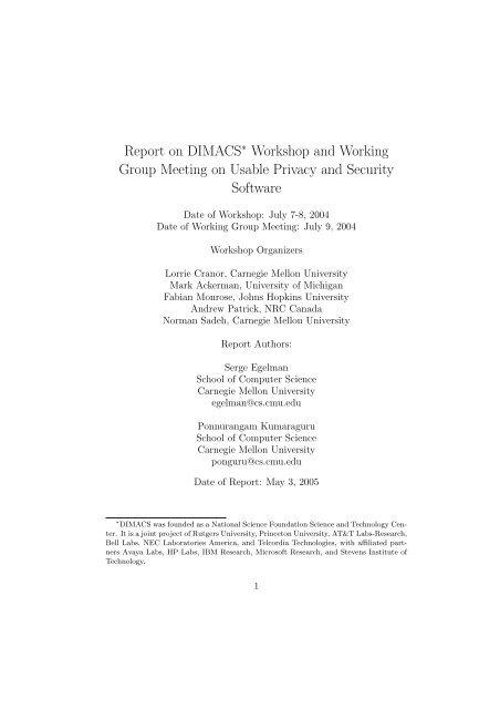 Report on DIMACS∗ Workshop and Working Group Meeting on ...