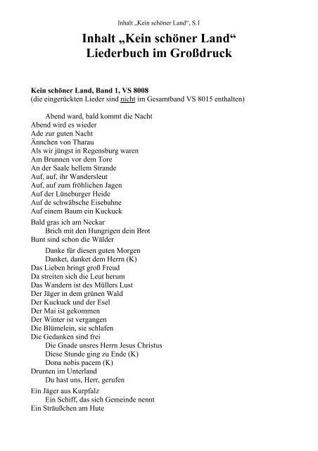 Inhalt Kein Schöner Land Liederbuch Im Großdruck