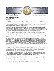 FOR IMMEDIATE RELEASE August 23, 2011 By - Alaska ...