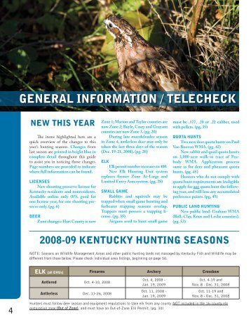 general information / telecheck - Kentucky Department of Fish and ...