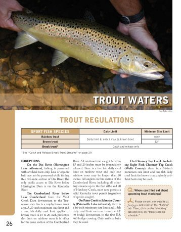 Trout in the classroom division of fish and wildlife for Ky dept fish and wildlife