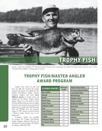 2011 trophy fish for Ky dept fish and wildlife