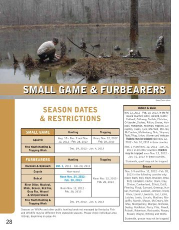 small game & furbearers - Kentucky Department of Fish and Wildlife ...