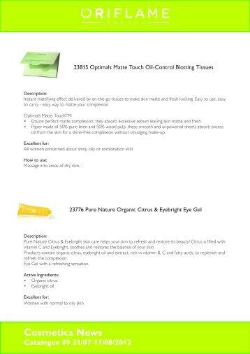 Cosmetics News Catalogue 09 21/07-17/08/2012 - Oriflame