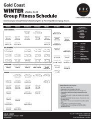 Winter Group Fitness Schedule - Fitness Formula Clubs