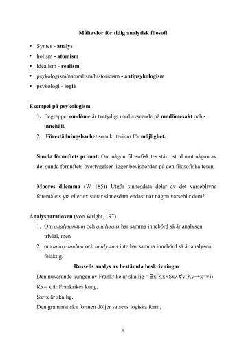 Måltavlor för tidig analytisk filosofi • Syntes - analys • holism ...