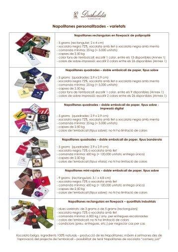 Napolitanes personalitzades - varietats