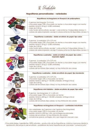 Napolitanas personalizadas - variedades