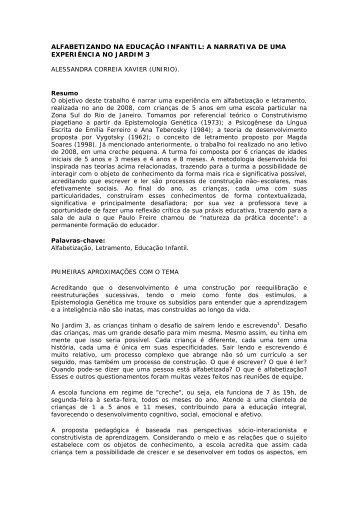 ALFABETIZANDO NA EDUCAÇÃO INFANTIL: A NARRATIVA DE ...
