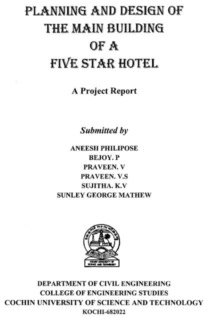 Planning and design of five star hotel pdf - DSpace at CUSAT