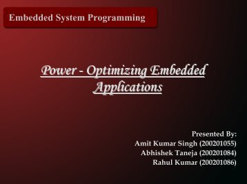 Power - Optimizing Embedded Applications - DAIICT Intranet