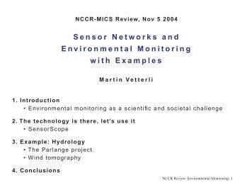 Sensor Networks and Environmental Monitoring ... - DAIICT Intranet
