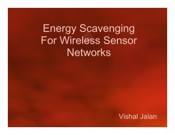 Energy Scavenging For Wireless Sensor Networks - DAIICT Intranet