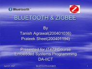 BLUETOOTH & ZIGBEE - DAIICT Intranet