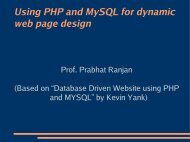 Lecture on MySQL/PHP - DAIICT Intranet