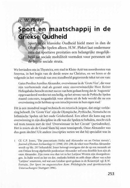 Sport en maatschappij in de Griekse Oudheid - Groniek
