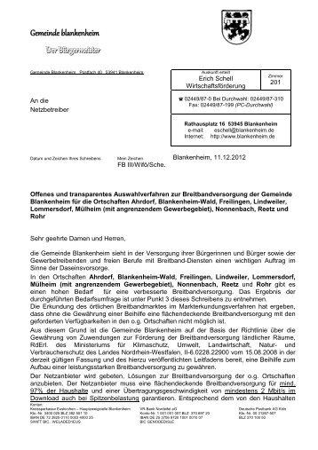 Ausschreibung Blankenheim - Breitband.NRW