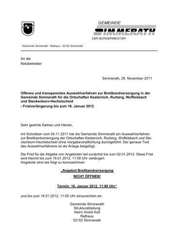 Ausschreibungsverlängerung (Stand: 29 ... - Breitband.NRW