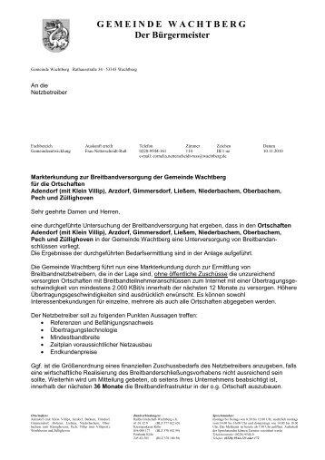 Markterkundung Wachtberg - Breitband.NRW