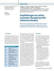 Empfehlungen zur antiretroviralen Therapie bei HIV - DGPI