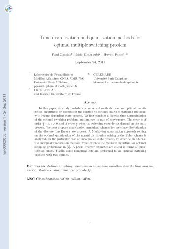 Time discretization and quantization methods for optimal multiple ...