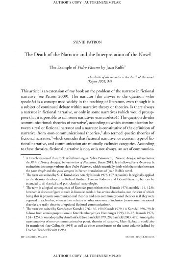 The Death of the Narrator and the Interpretation of the Novel. The ...