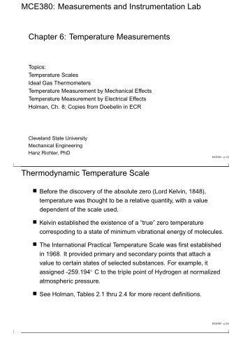 Temperature Measurements - The Academic Server at csuohio ...