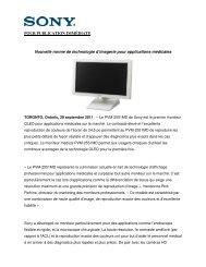 POUR PUBLICATION IMMÉDIATE Nouvelle norme de ... - Sony