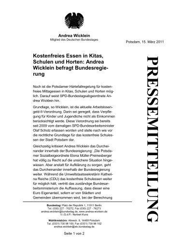 Kostenfreies Essen in Kitas, Schulen und Horten: Andrea Wicklein ...