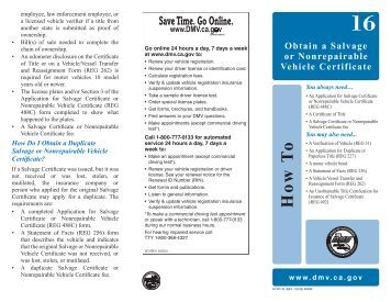 California for Dmv motor vehicle report