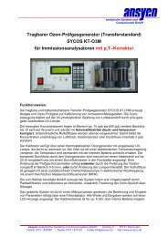 Tragbarer Ozon-Prüfgasgenerator (Transferstandard) SYCOS KT ...
