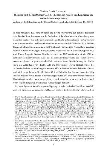 Mariana Prusák: Blicke im Text. Robert Walsers Gedicht «Renoir