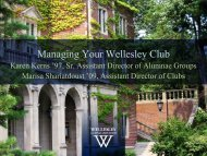 Managing Your Wellesley Club - Wellesley College