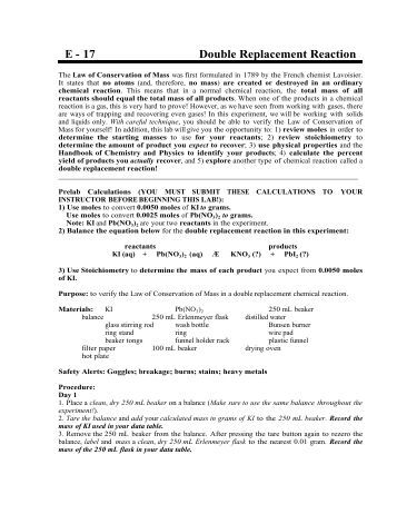 double replacement reaction lab Single replacement and double replacement reactions  of the types of  reactions on the data table page of the lab and as students complete.