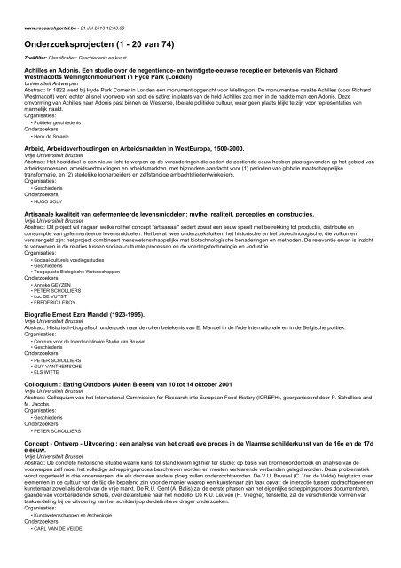 Onderzoeksprojecten (1 - 20 van 74)
