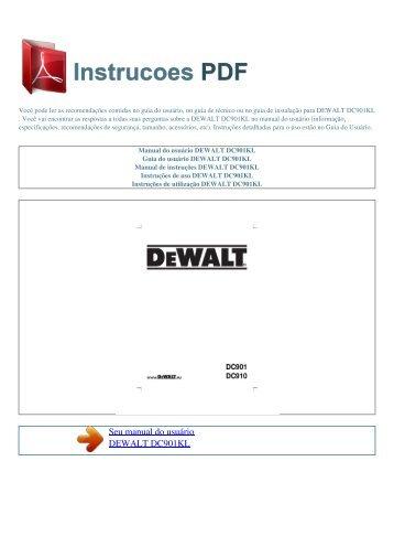 Manual do usuário DEWALT DC901KL - INSTRUCOES PDF