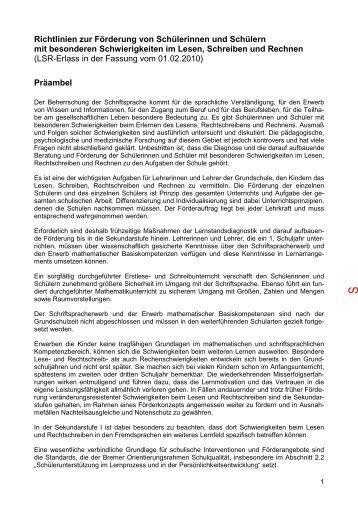 Richtlinien zum Bremer LRS-Erlass in der Fassung vom 1 Februar ...