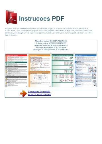 Manual do usuário BOSCH WAP24361EE - INSTRUCOES PDF