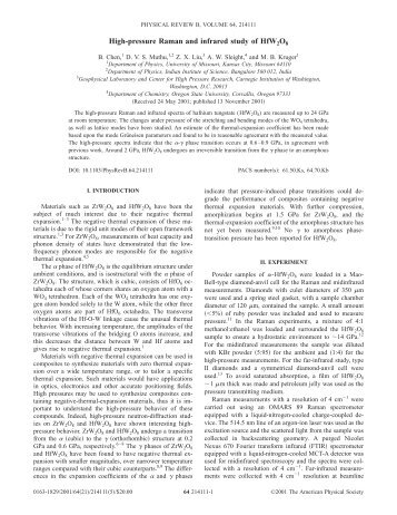 High-pressure Raman and infrared study of HfW2O8 - University of ...