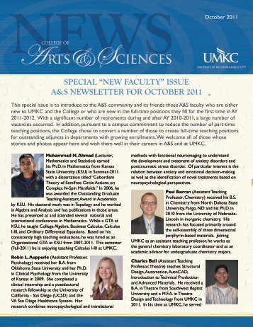 """special """"new faculty"""" issue a&s newsletter for october 2011"""