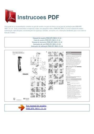 Manual do usuário PHILIPS 58011-31-16 - INSTRUCOES PDF