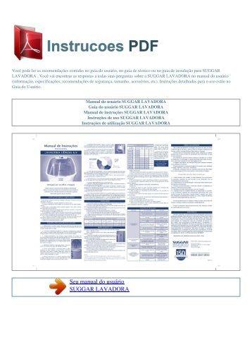 Manual do usuário SUGGAR LAVADORA - INSTRUCOES PDF